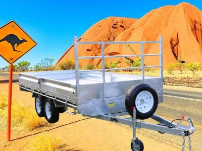 14 x 7 ft Tandem Flat Deck Trailer with Loading Ramps ATM 3500kg